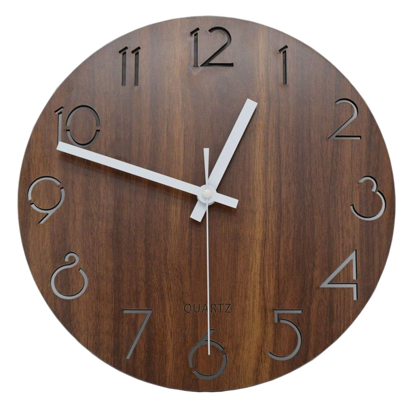 1X(12 inch Vintage Arabic Numeral Design Rustic Country Tuscan Style WoodenP6T9)
