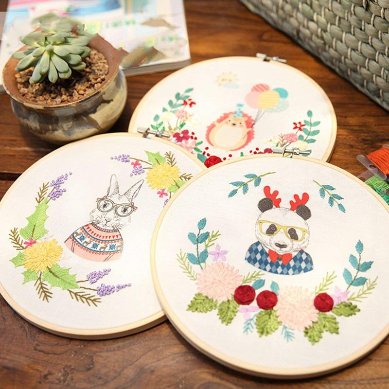 7 Inch Embroidery Hoops Wooden Round Adjustable Bamboo Circle Cross Stitch