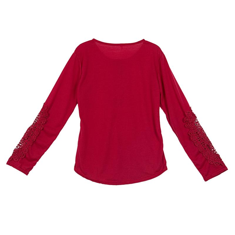 miniatuur 4 - Women Shirts Button Lace Sleeve Long Sleeve Plus Size Skinny