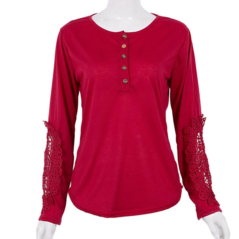 miniatuur 8 - Women Shirts Button Lace Sleeve Long Sleeve Plus Size Skinny