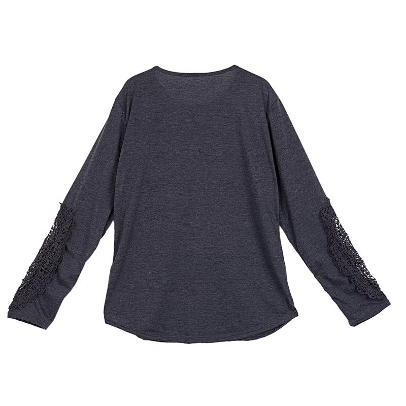 miniatuur 13 - Women Shirts Button Lace Sleeve Long Sleeve Plus Size Skinny