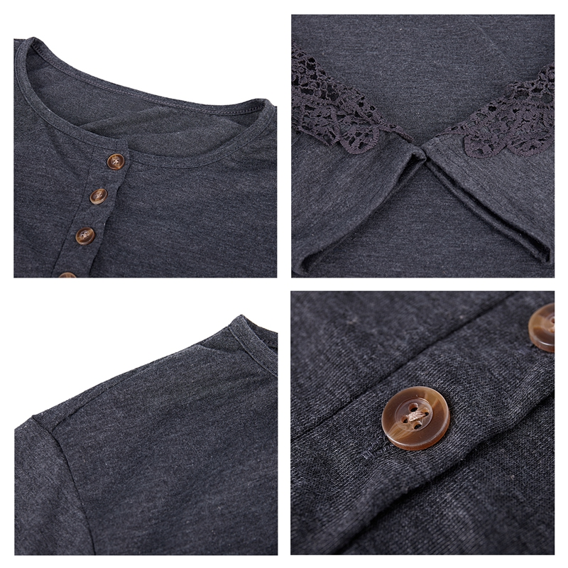miniatuur 14 - Women Shirts Button Lace Sleeve Long Sleeve Plus Size Skinny
