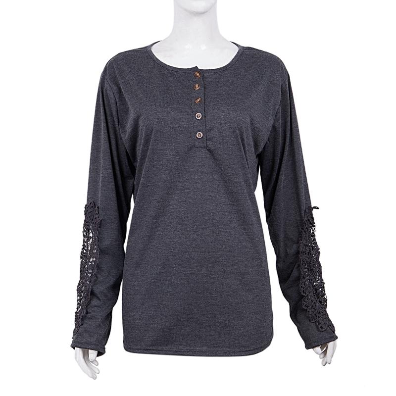 miniatuur 17 - Women Shirts Button Lace Sleeve Long Sleeve Plus Size Skinny