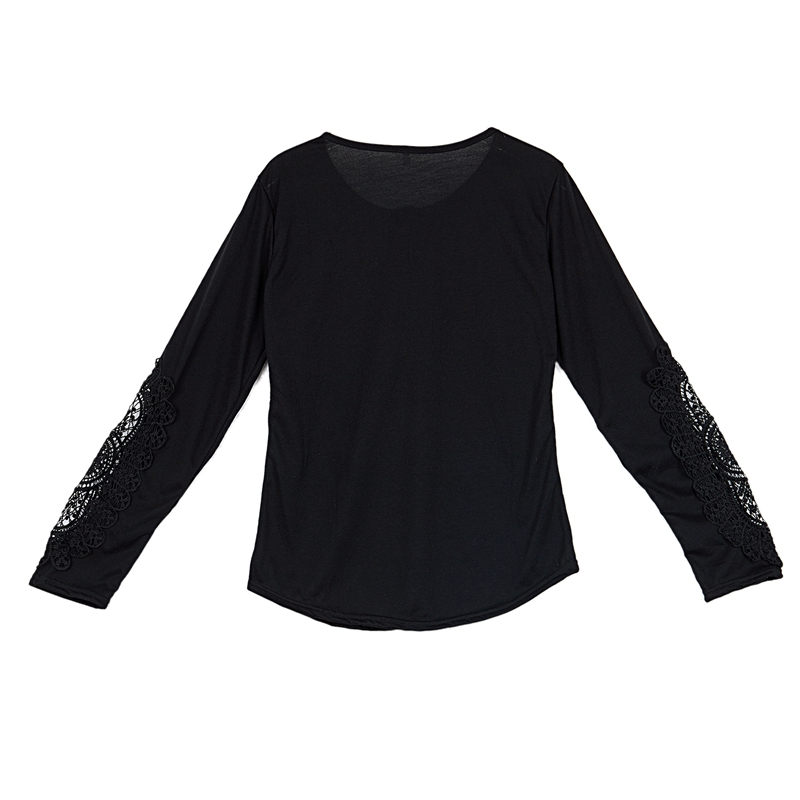 miniatuur 22 - Women Shirts Button Lace Sleeve Long Sleeve Plus Size Skinny