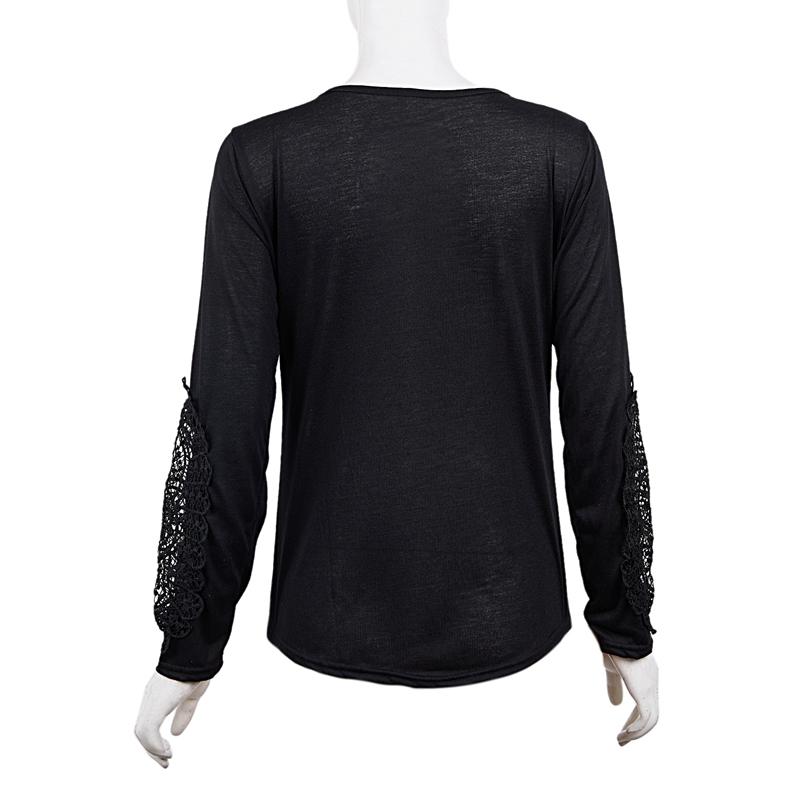 miniatuur 27 - Women Shirts Button Lace Sleeve Long Sleeve Plus Size Skinny