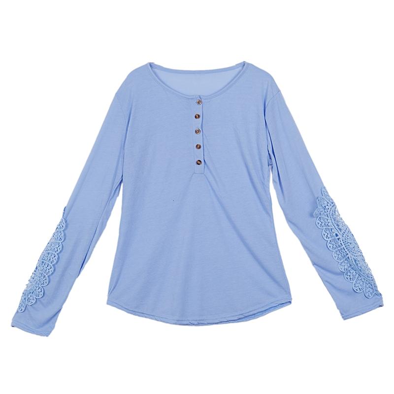 miniatuur 30 - Women Shirts Button Lace Sleeve Long Sleeve Plus Size Skinny