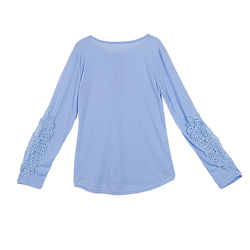 miniatuur 31 - Women Shirts Button Lace Sleeve Long Sleeve Plus Size Skinny