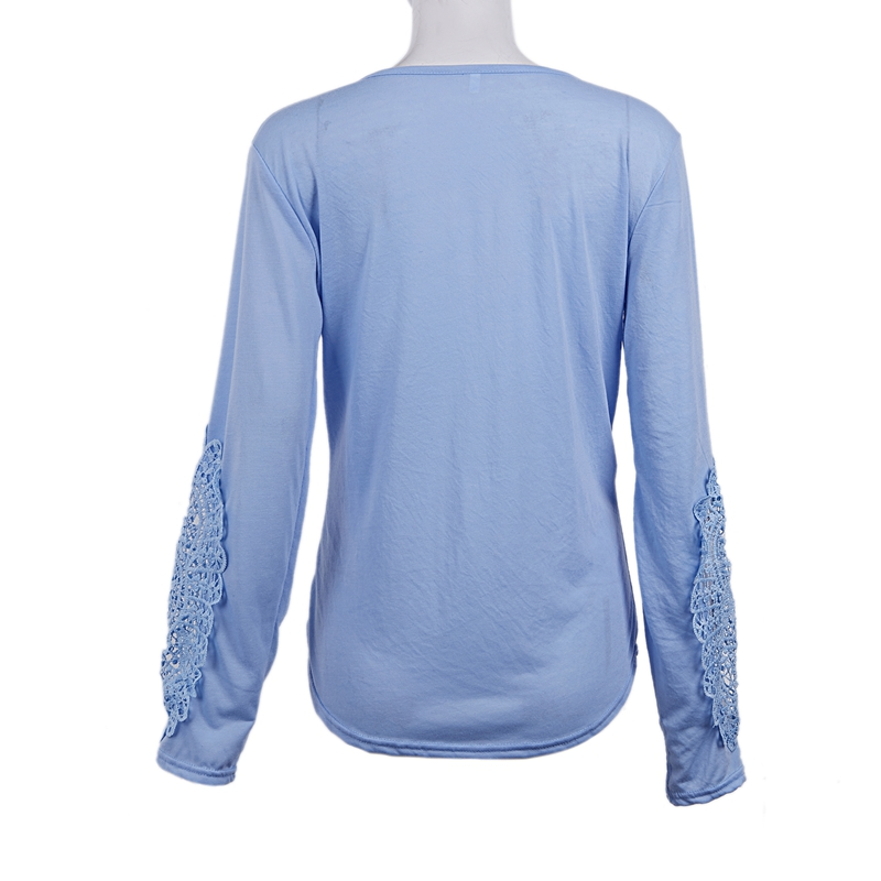 miniatuur 36 - Women Shirts Button Lace Sleeve Long Sleeve Plus Size Skinny