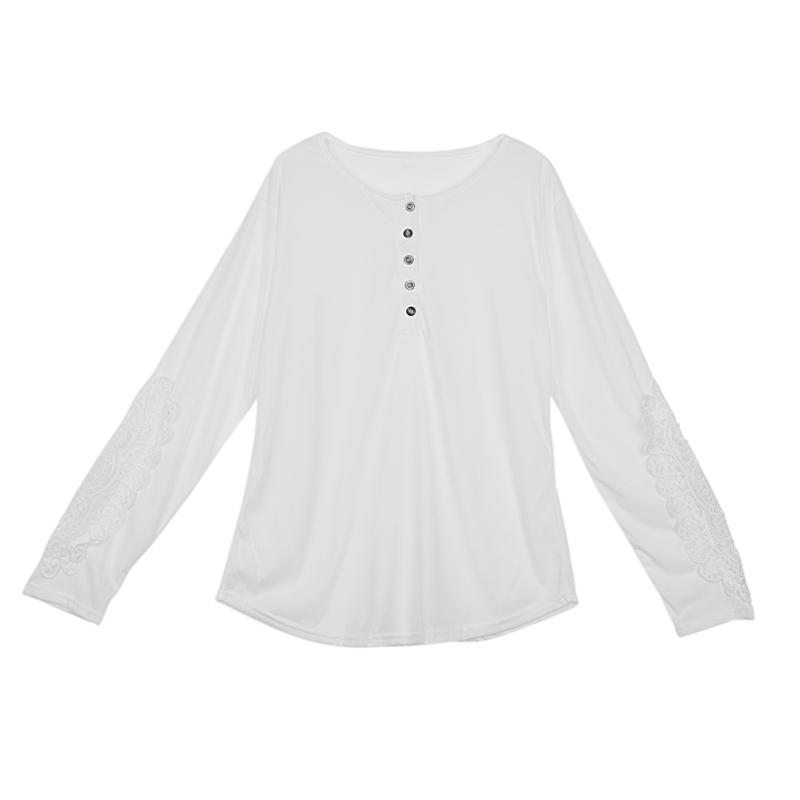 miniatuur 39 - Women Shirts Button Lace Sleeve Long Sleeve Plus Size Skinny