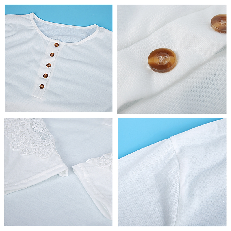 miniatuur 41 - Women Shirts Button Lace Sleeve Long Sleeve Plus Size Skinny