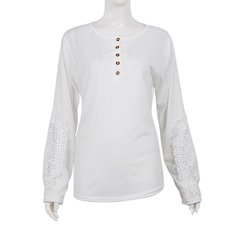 miniatuur 44 - Women Shirts Button Lace Sleeve Long Sleeve Plus Size Skinny