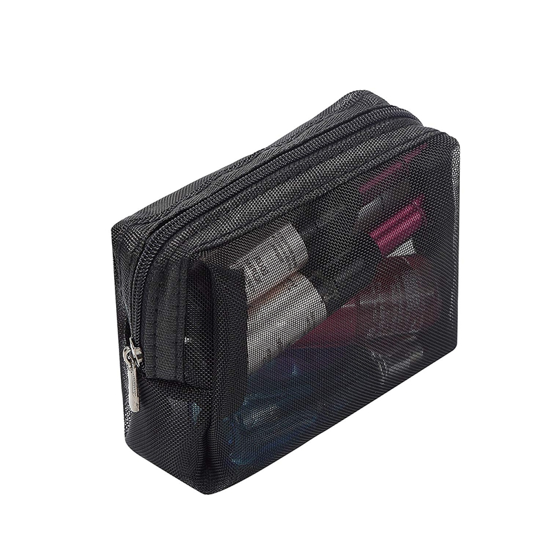 Details About Black Mesh Makeup Bag See Through Zipper Pouch Travel Cosmetic And Toiletries R2