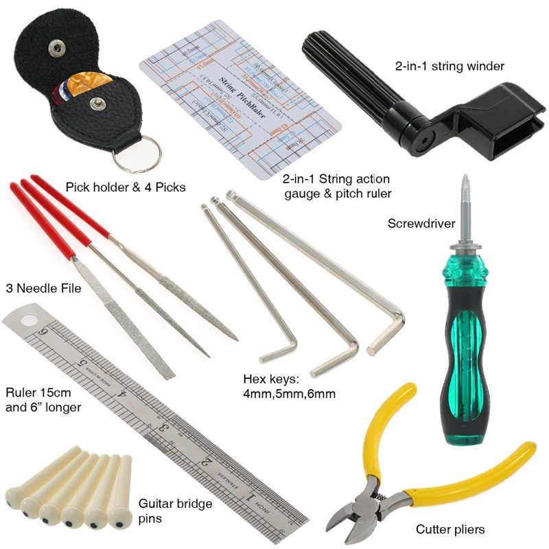 guitar repairing tool maintenance cleaning kit string organizer action ruler 5p2 193571174925 ebay. Black Bedroom Furniture Sets. Home Design Ideas