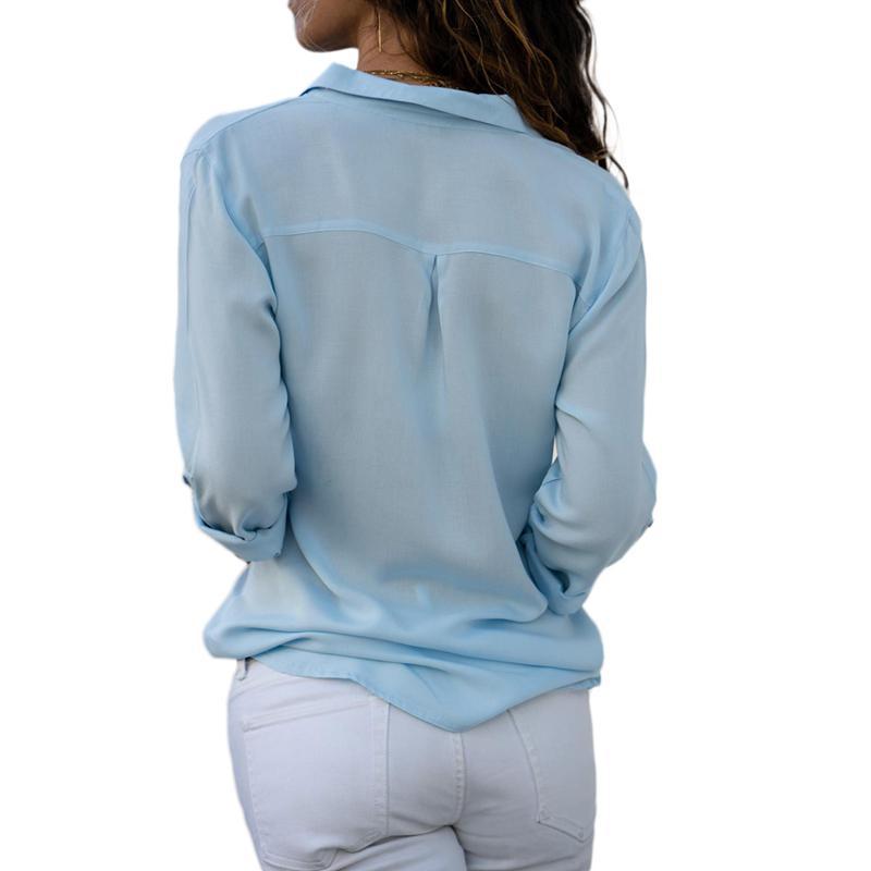 Otono-Blusa-Camisa-De-Gasa-De-Manga-Larga-De-Solapa-Con-Botones-Para-Mujer-C5T3 miniatura 3