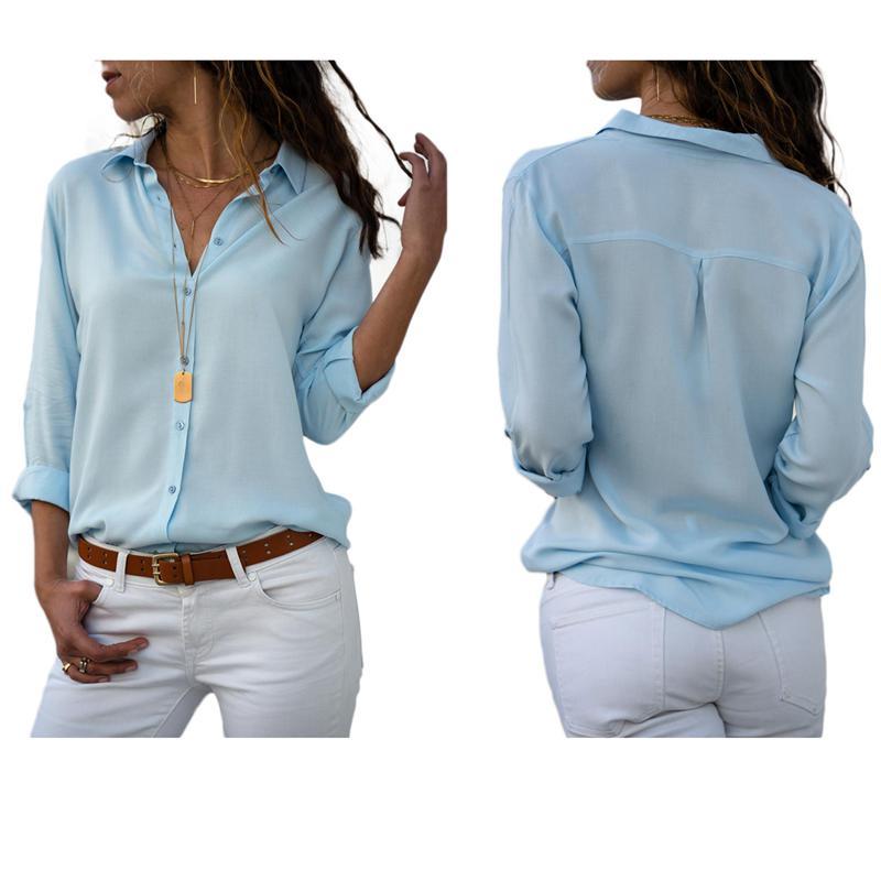 Otono-Blusa-Camisa-De-Gasa-De-Manga-Larga-De-Solapa-Con-Botones-Para-Mujer-C5T3 miniatura 4