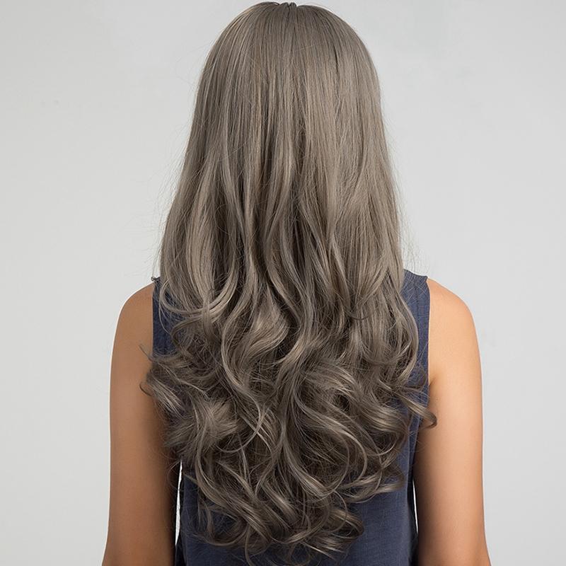 3x(vague 26 Pouces Longue Perruque Gris Cheveux Résistant À La Chaleur Synt C2