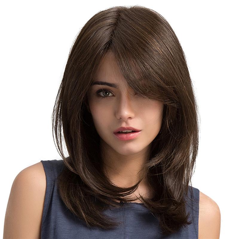 10X(Frauen Haar Perücken Damen Party Täglich Natürliche Natürliche Natürliche Welle Dunkelbraun C9 ca574c