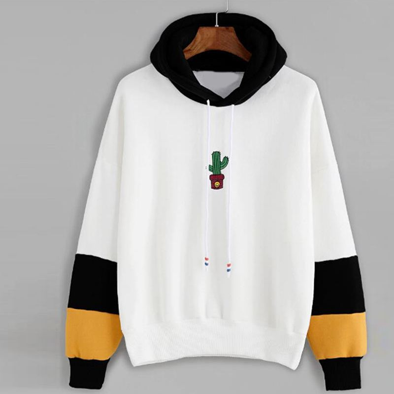Women-Long-Sleeve-Hoodies-Sweatshirts-Drawstring-Color-Block-Cactus-Oversiz-Y5T7 thumbnail 3