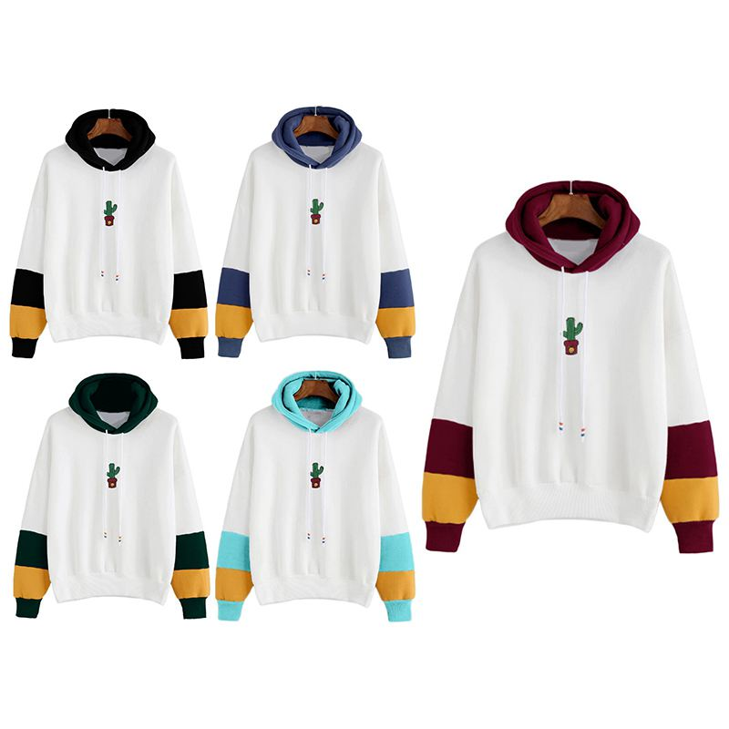 Women-Long-Sleeve-Hoodies-Sweatshirts-Drawstring-Color-Block-Cactus-Oversiz-Y5T7 thumbnail 4