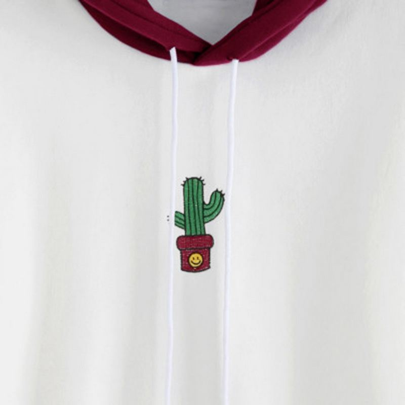 Women-Long-Sleeve-Hoodies-Sweatshirts-Drawstring-Color-Block-Cactus-Oversiz-Y5T7 thumbnail 6