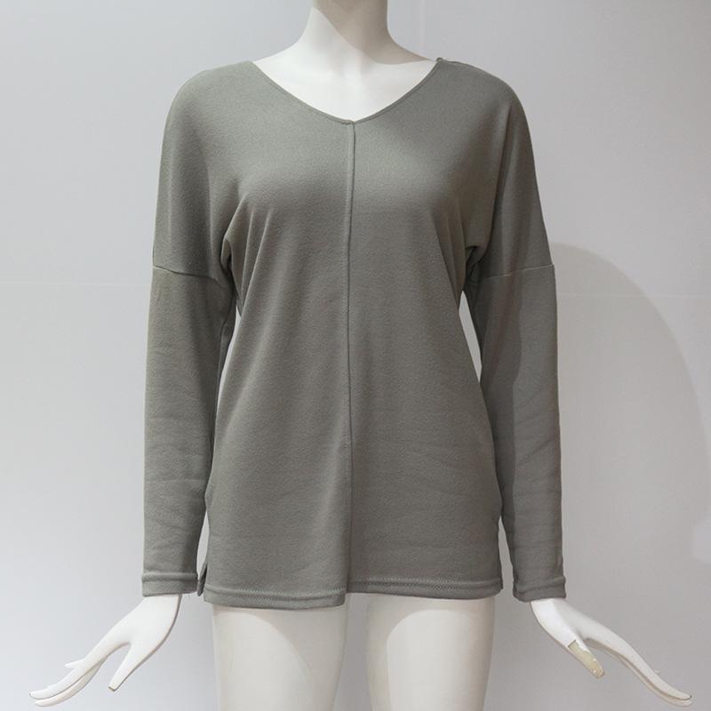 Femmes-Automne-Mode-Col-En-V-a-Manches-Longues-Chandail-a-Tricot-Dames-Deco-R3N1 miniature 3