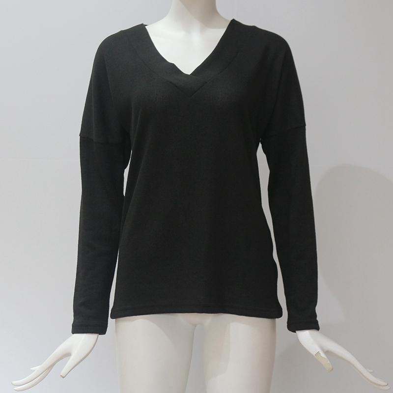 Femmes-Automne-Mode-Col-En-V-a-Manches-Longues-Chandail-a-Tricot-Dames-Deco-S6W5 miniature 4