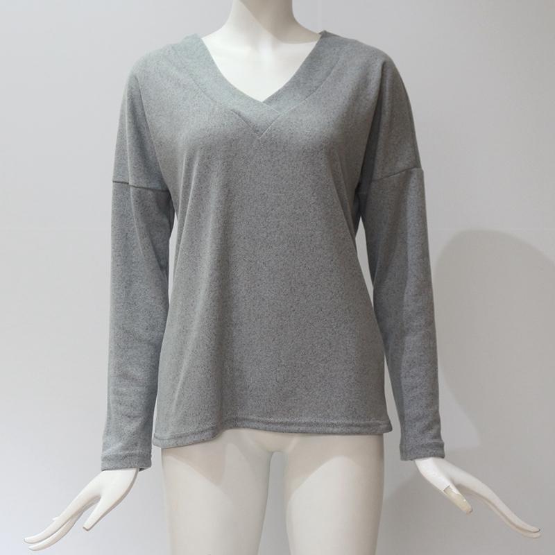 Femmes-Automne-Mode-Col-En-V-a-Manches-Longues-Chandail-a-Tricot-Dames-Deco-S6W5 miniature 18