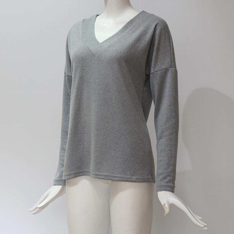 Femmes-Automne-Mode-Col-En-V-a-Manches-Longues-Chandail-a-Tricot-Dames-Deco-S6W5 miniature 19