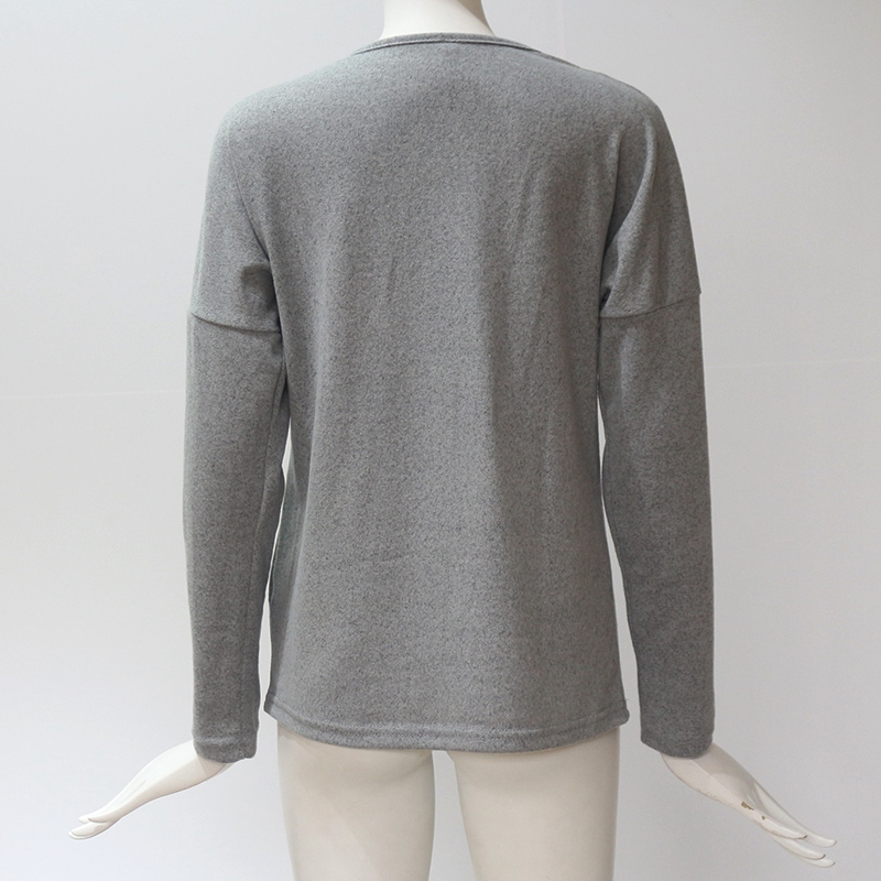Femmes-Automne-Mode-Col-En-V-a-Manches-Longues-Chandail-a-Tricot-Dames-Deco-S6W5 miniature 20