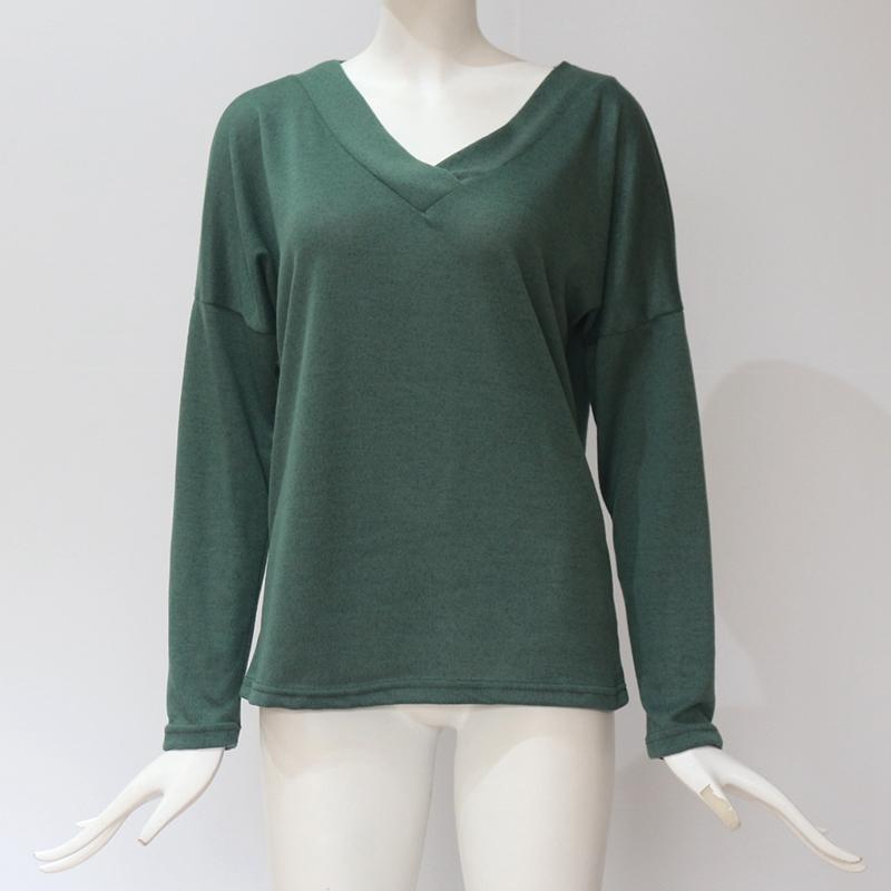 Femmes-Automne-Mode-Col-En-V-a-Manches-Longues-Chandail-a-Tricot-Dames-Deco-S6W5 miniature 41