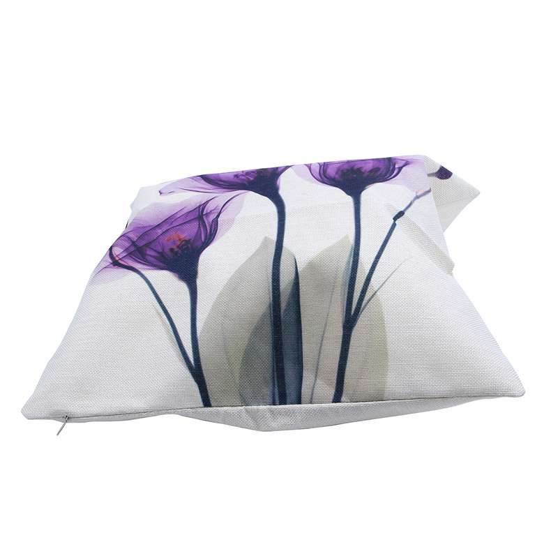 45x45cm Modern Ink Painting Flower flax Throw Pillow Case Waist Cushion Cover Or