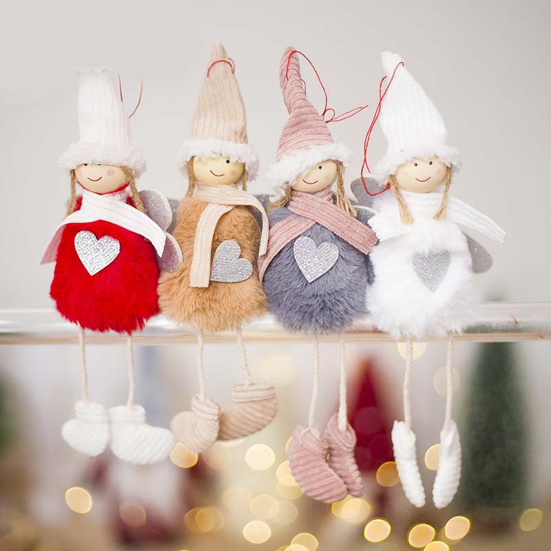Ange-Mignon-En-Peluche-Poupee-De-Decoration-De-Noel-Pendentif-Creative-Orne-Y1O8 miniature 7