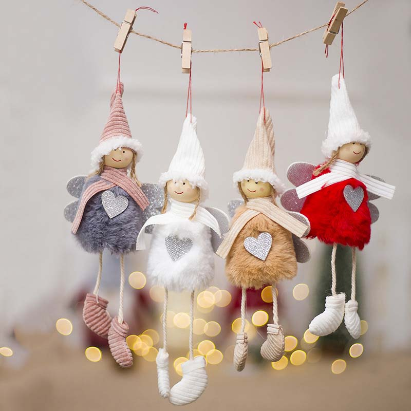 Ange-Mignon-En-Peluche-Poupee-De-Decoration-De-Noel-Pendentif-Creative-Orne-Y1O8 miniature 15