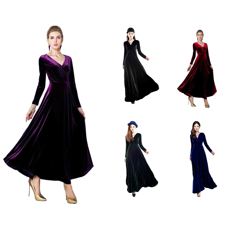 details zu herbst winter lange aermel samt party kleid damen vintage kleid  ballkleid k p8d2