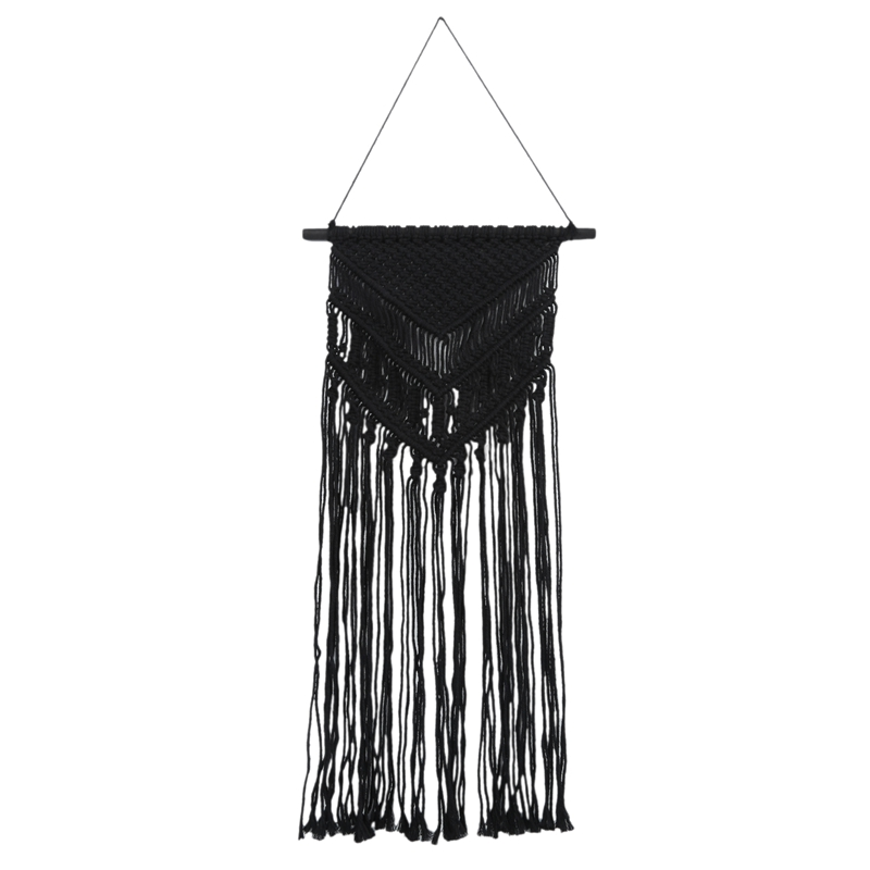 1XMacrame Wall Hanging Woven Tapestry Minimalist Home Decor, Black,35cmx95S1V6