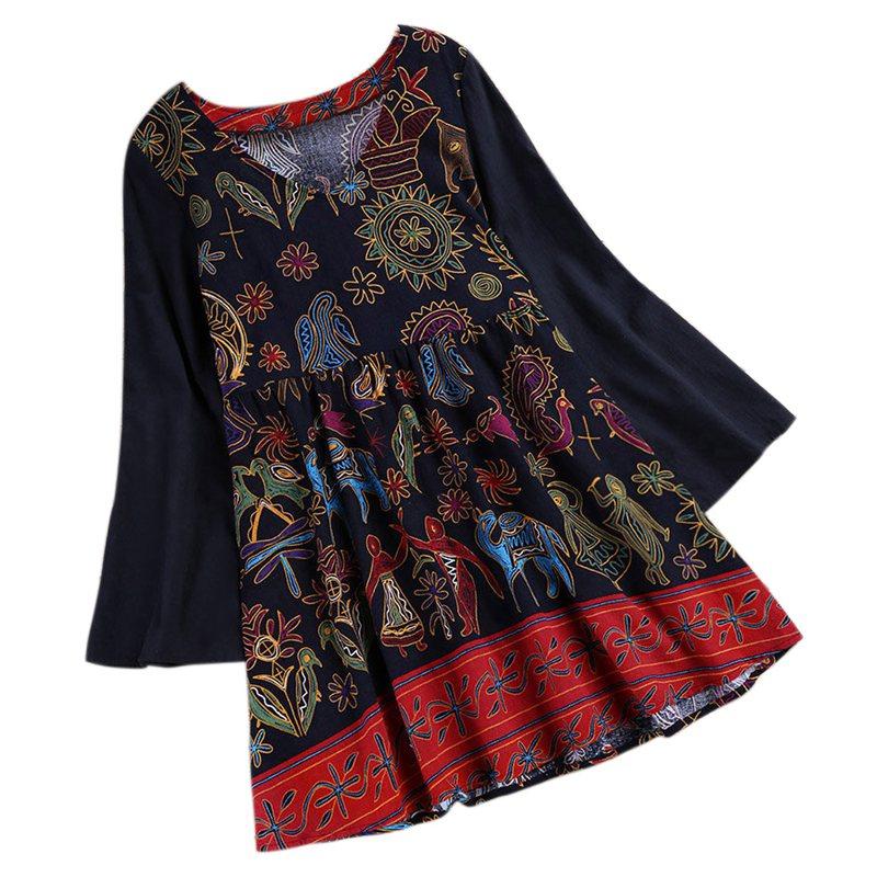 1X-Camicia-donna-autunno-autunno-Camicia-vintage-scollo-a-V-manica-lunga-Bo-HK miniatura 2