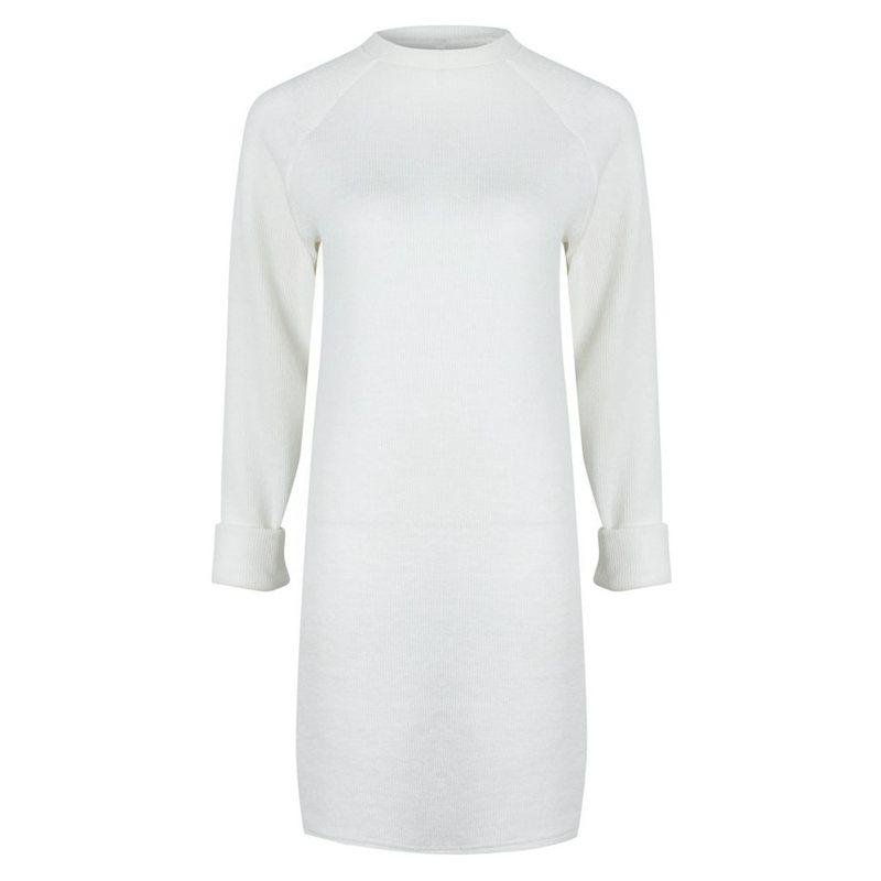 Femme-Mode-Automne-Hiver-O-Cou-A-Manches-Longues-Chaud-Robe-De-Chandail-En-Q1I3 miniature 3