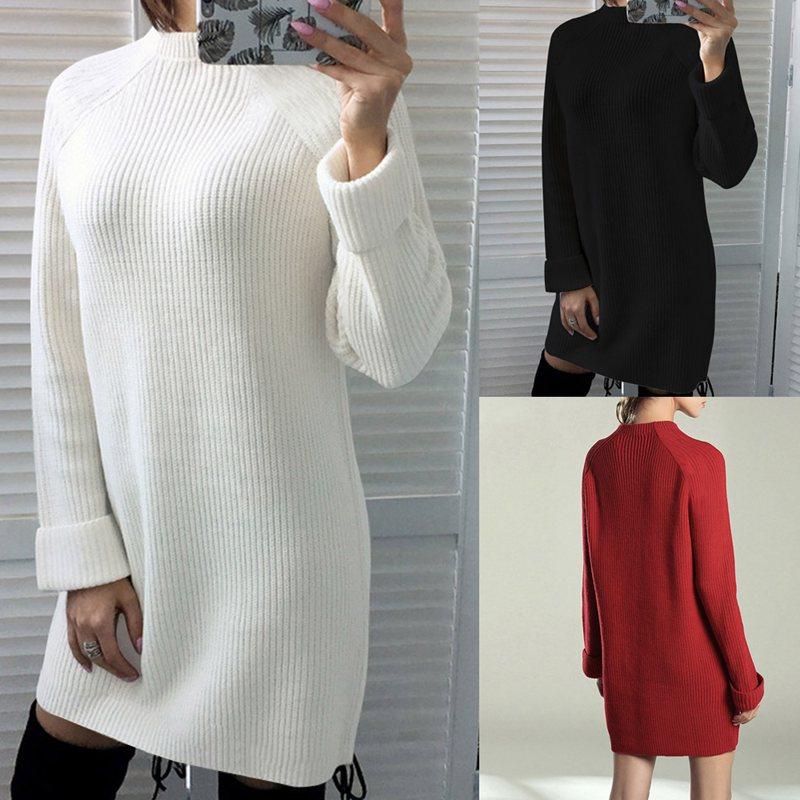 Femme-Mode-Automne-Hiver-O-Cou-A-Manches-Longues-Chaud-Robe-De-Chandail-En-Q1I3 miniature 7