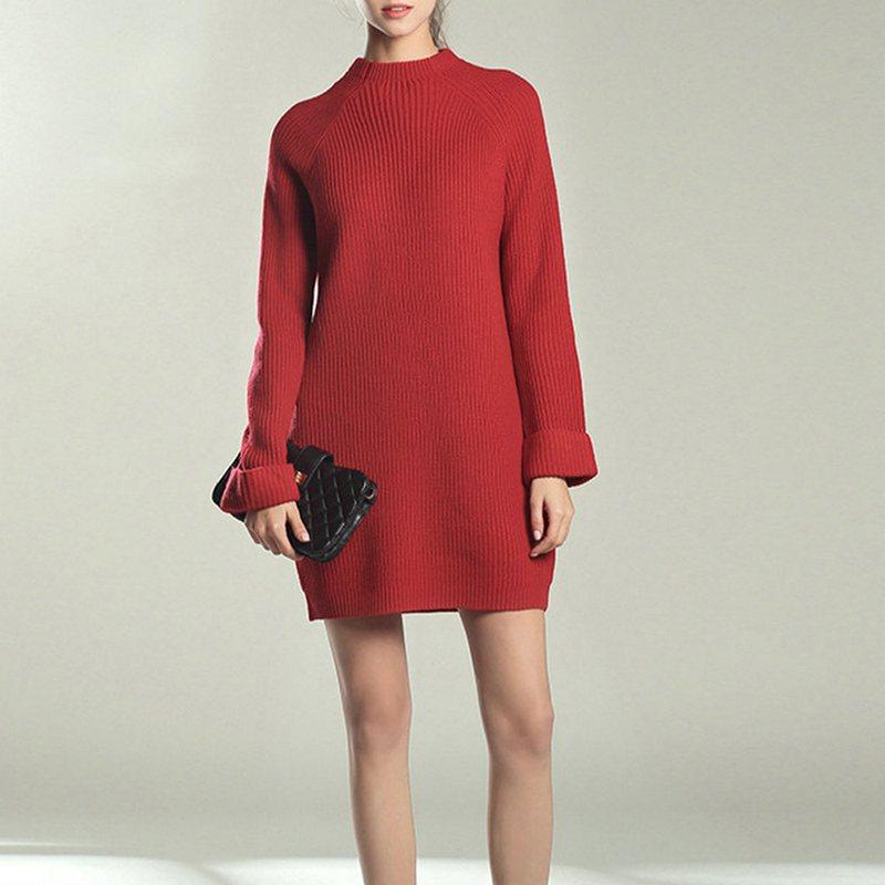 Femme-Mode-Automne-Hiver-O-Cou-A-Manches-Longues-Chaud-Robe-De-Chandail-En-Q1I3 miniature 12