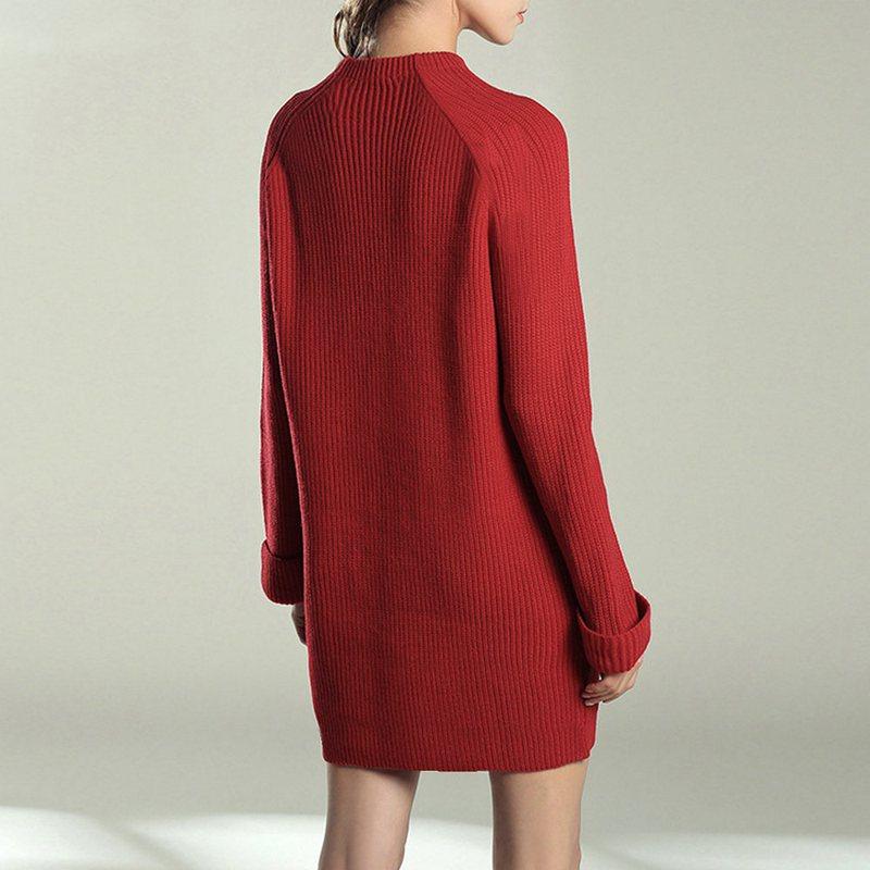 Femme-Mode-Automne-Hiver-O-Cou-A-Manches-Longues-Chaud-Robe-De-Chandail-En-Q1I3 miniature 13