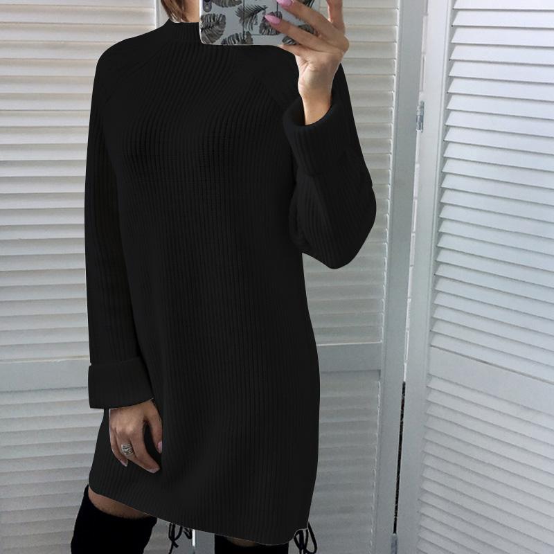 Femme-Mode-Automne-Hiver-O-Cou-A-Manches-Longues-Chaud-Robe-De-Chandail-En-Q1I3 miniature 22