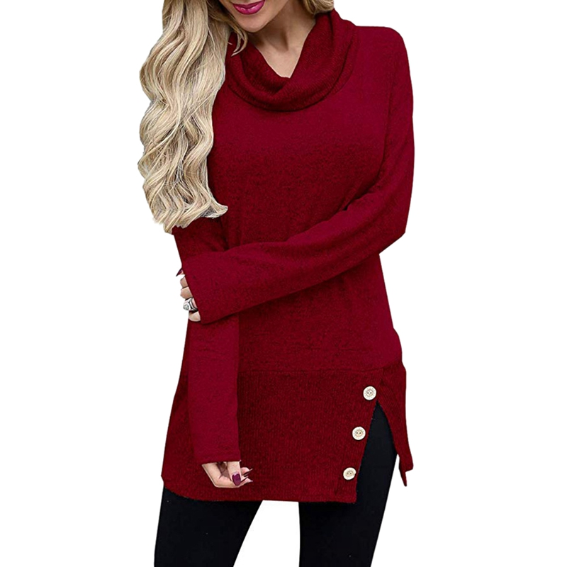 Dames-Solide-Col-Haut-Tricot-A-Manches-Longues-Chandail-Pull-Over-Long-A-Bo-O6K2 miniature 3