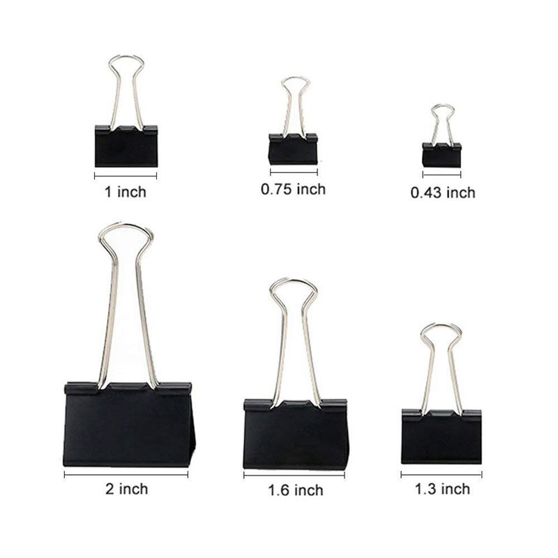 Binder Clips Paper Clamps Assorted Sizes 100 Count (Black