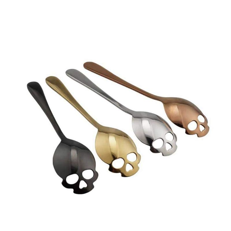 304-Stainless-Steel-Skull-Sugar-Spoons-Handle-Mixing-Spoons-Cream-Ice-Tea-C-X4J2 thumbnail 2