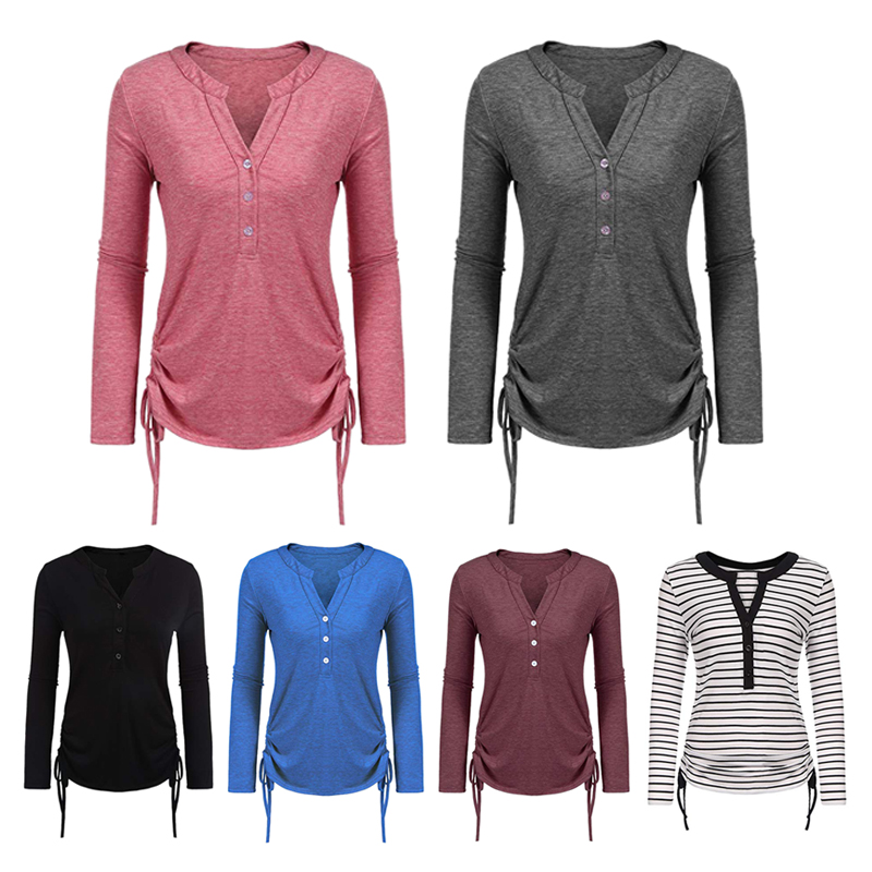 6X(Woherren Long Sleeve Stripe Plus Größe V Neck Lace Up Tunic Tops For Ladie O4D6