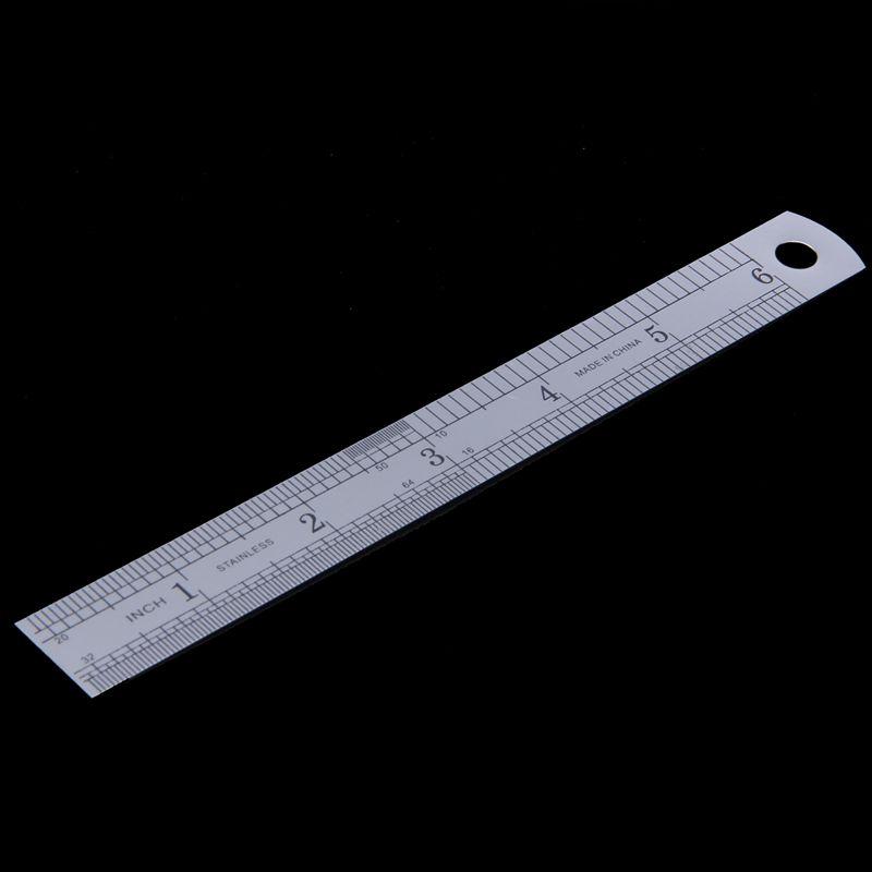 15cm 6 Inch Stainless Metal Ruler Measuring Tool D3Y7