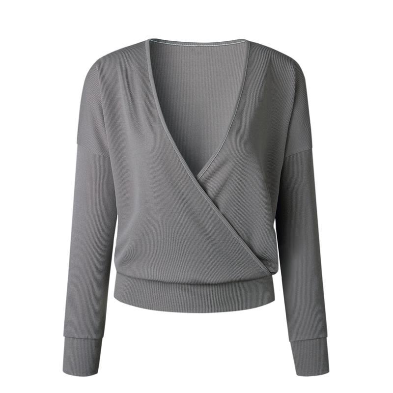 1X-Femme-Mode-Col-En-V-a-Manches-Longues-Chandail-En-Tricot-Dames-Decontrac-G2O7 miniature 3