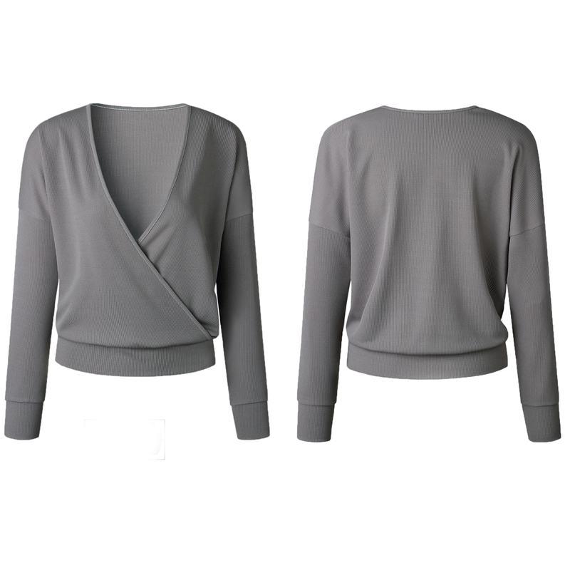 1X-Femme-Mode-Col-En-V-a-Manches-Longues-Chandail-En-Tricot-Dames-Decontrac-G2O7 miniature 5