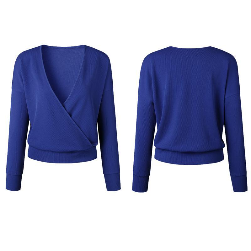 1X-Femme-Mode-Col-En-V-a-Manches-Longues-Chandail-En-Tricot-Dames-Decontrac-G2O7 miniature 12