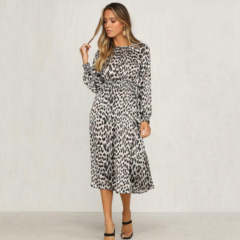 Women-Fashion-Sexy-O-Neck-Leopard-Print-Long-Sleeve-Midi-Dress-Ladies-Party-K6L4 thumbnail 3